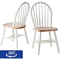 Winsome Wood Windsor Chair in Natural and White Finish,...