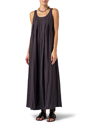 Vivid Linen Sleeveless Scoop Neck Dress-L-Smokey Purple