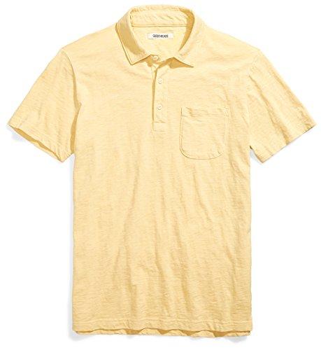 Goodthreads Men's Lightweight Slub Pocket Polo Shirt, Pampas/Yellow, Large