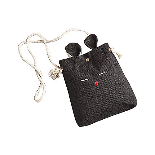 tracolla Semplice piccola carino Piccola Rawdah Borsa tracolla a Borsa donna a per gatto di orecchietta nero bag per borsa quadrata WwHTznBqw8