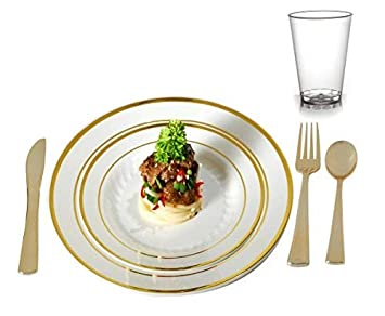Plastic Plates Disposable-Silverware Combo | Elegant Gold Rimmed Dishes, Plastic Gold Cutlery and