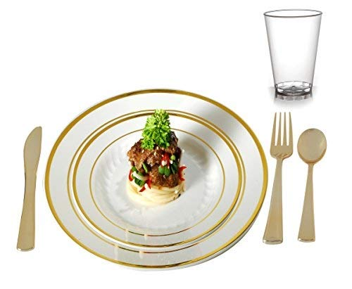 Plastic Plates Disposable-Silverware Combo | Elegant Gold Rimmed Dishes, Plastic Gold Cutlery and Crystal Clear Tumbler Dinner Service | Service for 24 (Plates, Silverware, with tumblers)
