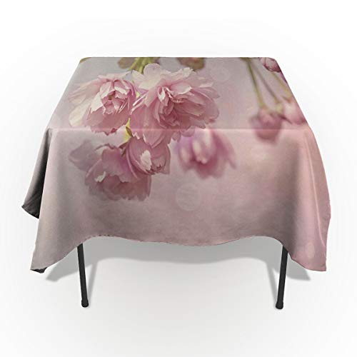 Sakura Home Cotton Linen Tablecloth Dust-Proof Table Cover for Kitchen Dinning Picnic Tabletop Decoration, Pink Cherry Blossom Tree On A Spring Day Paintings, Rectangle Tablecloths 60 x 84-inch
