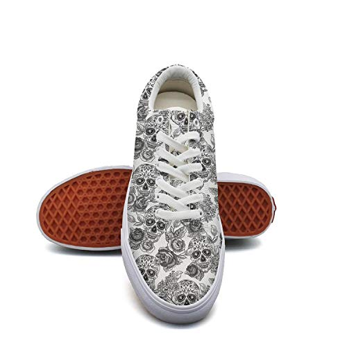 Women'sGray Skull and Flowers Canvas Shoes Low-Cut Straps Unique Sneakers Suitable for Walking]()