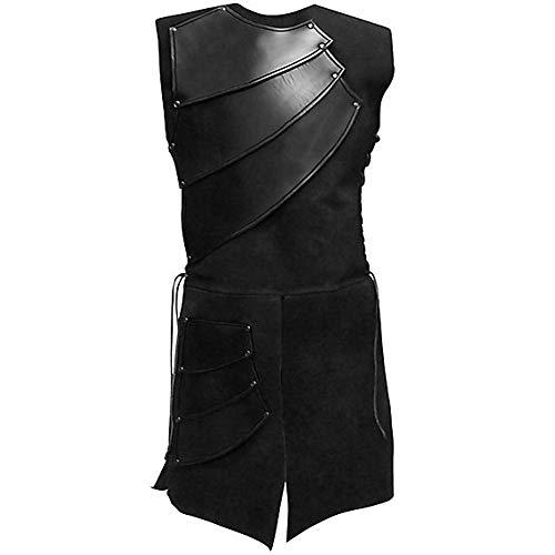 Alex sweet Men's Medieval Sleeveless Waistcoats Costume Renaissance Waistcoats Vests (XL, Black) -