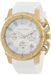 Vince Camuto Women's VC/5102WTWT Gold-Tone Chronograph White Resin Strap Watch