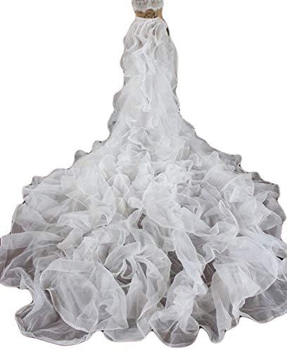 Simlehouse 7ft Ruffled Wedding Detachable Train Skirt Tulle Prom Party Overskirt 2019