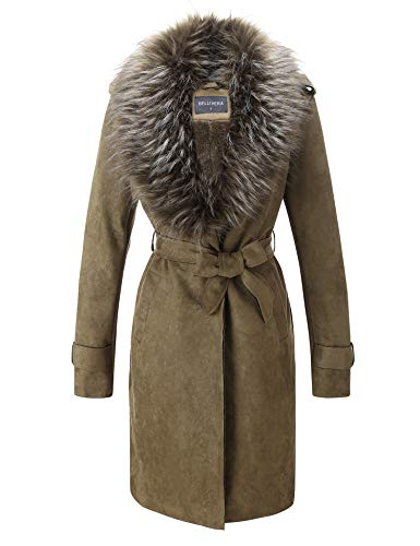 Bellivera Women's Faux Suede Long Jacket, Lapel Outwear Trench Coat Cardigan with Detachable Faux Fur Collar for Winter ()