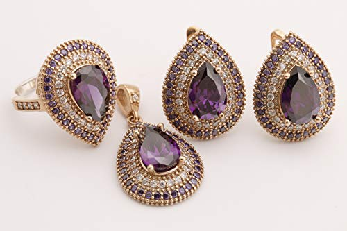 (Turkish Handmade Jewelry Small Drop Shape Pear Cut Amethyst and Round Cut Topaz 925 Sterling Silver Jewelry Set Earrings,Pendant and Ring Size Option)
