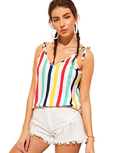 SheIn Women's V Neck Printed Tie Shoulder Strap Cami Tank Sleeveless Blouse Top Large Colorful Stripe