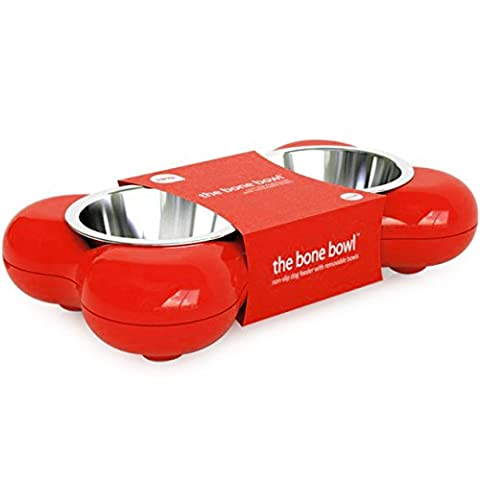 Hing Bone Non Slip Dual Dog Feeding Station with Removable Bowls, Small/Medium, Red