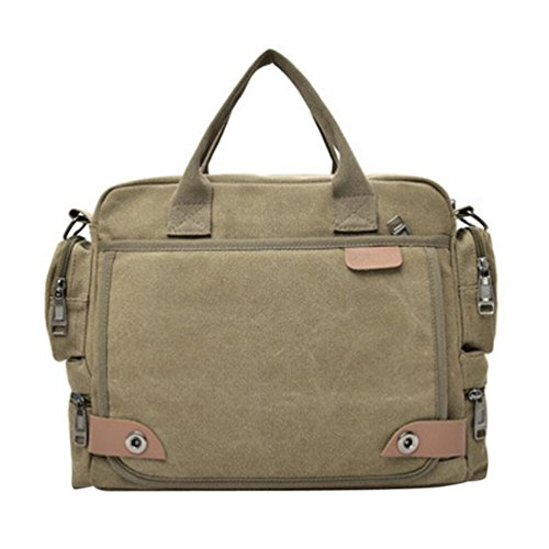 Unique Stylish High-capacity Zipper Canvas Casual Laptop Bag Shoulder Bag Travel Bag (Khaki) - 8