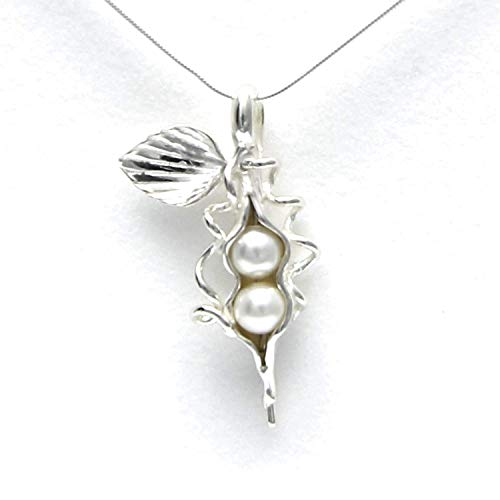 - 2 Pearl How Many Peas in Your Pod Sterling Silver Necklace Each Unique Handmade - Gift Boxed - White Pearl 18