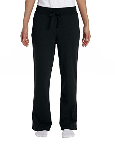 Gildan Heavy Blend Ladies 8 oz., 50/50 Open-Bottom Sweatpants, 2XL, BLACK (8 Oz Sweatpant)