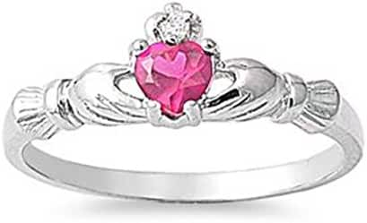Polished Sterling Silver Claddagh Love Heart Ring with Pink Red CZ