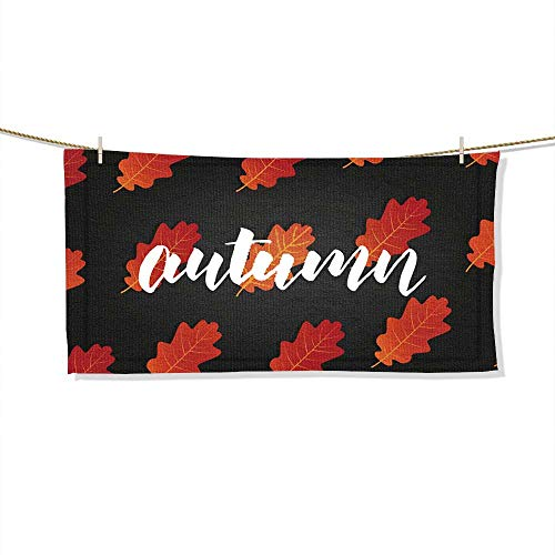 FootMarkhome Microfiber Beach Towel Autumn Banner with Autumn Lettering and Trendy Fall Oak Leaves Beach Blanket, Towels, Best for Outdoor -Size:27.6