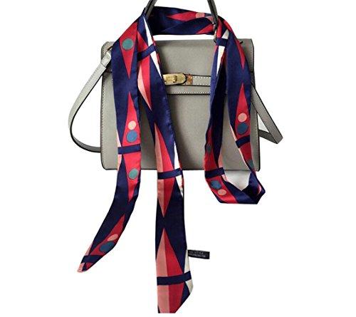 (UPSTORE 1PCS 200cm/2.18 Yards Women Lady Girl Skinny Thin Chiffon Long Tie Scarf Silk Scarves Bag Band Belt Neckerchief for All Season (Style A))