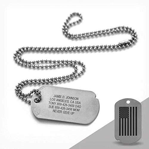 Road ID Custom Military Dog Tag - The Fixx ID - American Flag Dog Tag ID