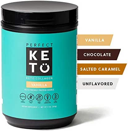 Perfect Keto Collagen Peptides Protein Powder with MCT Oil - Grassfed, GF, Multi Supplement, Best for Ketogenic Diets, Use in Coffee, Shakes for Women & Men – Vanilla