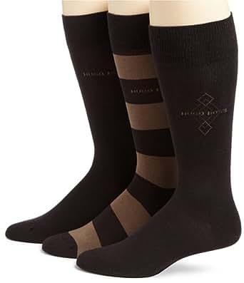 BOSS HUGO BOSS Men's 3-Pack Socks,Dark Brown,Size 10-13