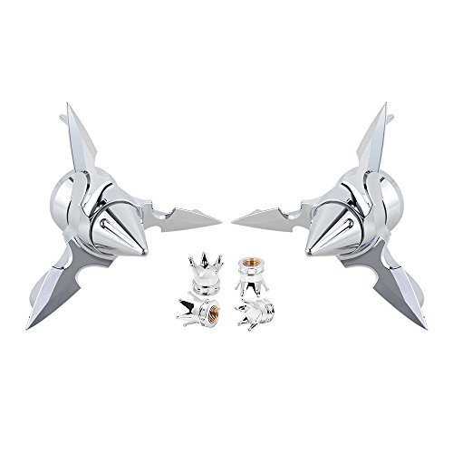 Fork Nut Covers (2x Front Axle Nut Cover Bolt + 2pcs Wheel Rim Tire Air Stem Valve Caps Kit for Harley Dyna Softail Sportster Touring (Chrome))