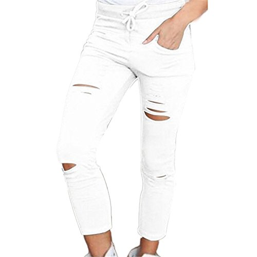 B Dressy Fashion Women Denim Skinny Cut Pencil Pants High Waist Stretch Jeans Trousers Cotton Drawstring Slim Leggings,Large,White