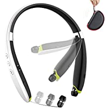 Foldable Bluetooth Headset,Wireless Bluetooth Headphones with Retractable Earbuds,Handsfree Calling Bluetooth Sweat proof Sport Headphones Built in Mic for Bluetooth Enabled Devices