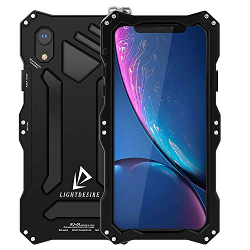 iPhone XR Case 6.1 Inch LIGHTDESIRE Tough Armor Shock Resistant Aluminum Metal Bumper Military Cover Shell Protective Lens with Rope Strap Case - Matte Black