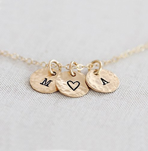 Personalized Tiny Disc Necklace - Dainty Initial Necklace - 1, 2, 3, 4 or 5 Charms Custom Gold Filled