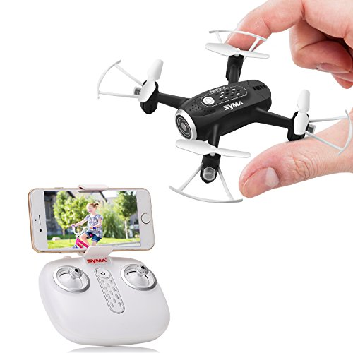SYMA X22W Drone with Camera Live Video FPV Nano Pocket Mini Drone for Kids and Beginners, RC Quadcopter with App Control, Altitude Hold, 3D Flips, Headless Mode, Black