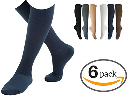 6 Pairs of Comfortable Knee High Graduated Compression Socks For Women & Men | Best Fitness & Running - Travel & Flight Socks - Maternity & Surgery Recovery – 15-20mmHg (Police Woman Costume Ebay)