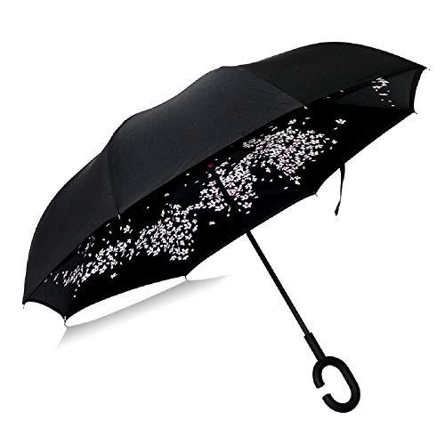 Car Reverse Umbrella C-Type Umbrella, AmyDong Handle Can Stand Rain Or Shine Dual Umbrella