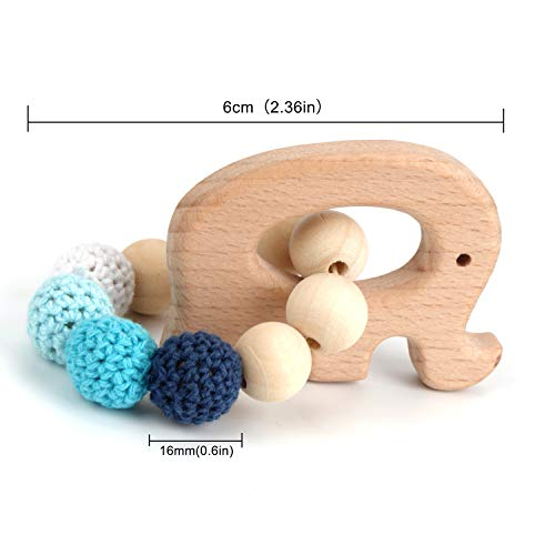 Wooden Teether Baby Rattles Sensory Toys, Wooden Gym Rattle Teether Natural Raw Crochet Beads Toy Baby Teething Ring Chew Toy Baby Teething Bracelet Crochet Beads Bracelet of Elephant,Bird,Cockhorse