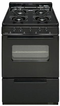 Premier BJK5X0BP Black ADA Compliant 24'' Cordless Battery Spark Gas Range with 3 Cu. Ft. Capacity Four Sealed Burners Cast-Iron Grates Windowed Oven Door and 1.5'' Porcelain by Premier