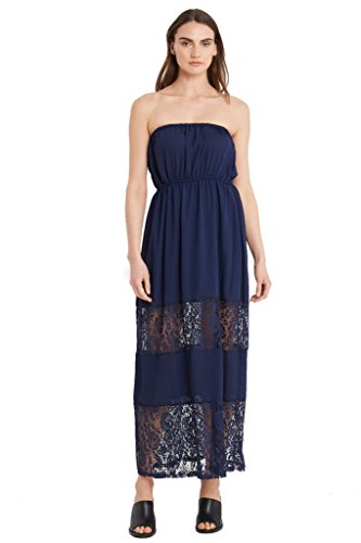 Women's Beach Chiffon Floral Lace Trim Tube Maxi Strapless Casual Cover Up Dress USA Navy (Lace Tube Dress)
