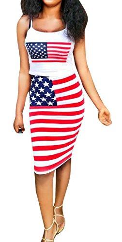 Sottile Bianchi Bandiera Americano Donne Pannello Del Armato Cromoncent Patriottico Carro Esterno Abito Superiore Bodycon awO15OqU