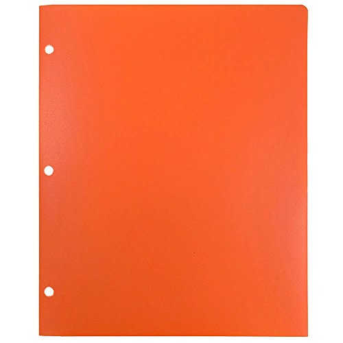 JAM Paper Heavy Duty 2 Pocket 3 Hole Punched Plastic Folder - Orange - 6 Folders per Pack