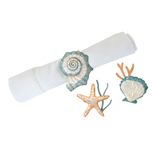 Seabrook Starfish and Shells Metal Seashell Kitchen Dining Napkin Rings Set of (Shell Napkin Ring)
