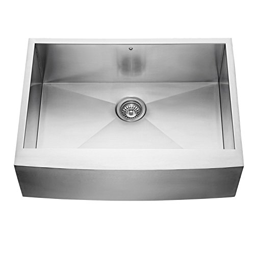 VIGO VG3020C 30 Inch Farmhouse Apron Front 16 Gauge Single Bowl Stainless Steel Kitchen Sink, Commercial Grade Sink with SoundAbsorb Technology