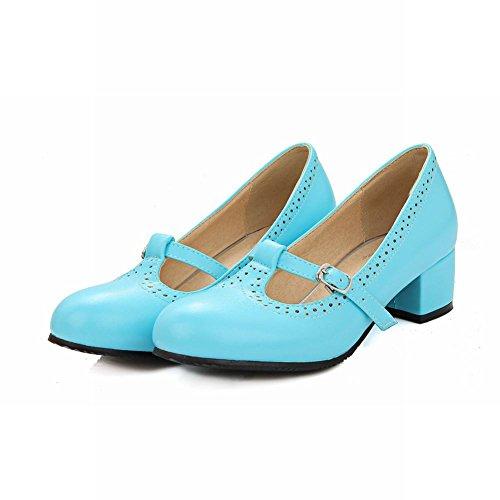 Breloque Pied De La Femme T Sangle Boucle Talon Moyen Pompes Chunky Chaussures Bleu