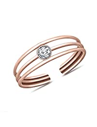 SRJEWELS 14K Rose Gold Plated Round Cut Created Simulated Diamonds Promise Classic Look Solitaire Fashion Toe Ring Adjustable Toe Ring For Womens Alloy