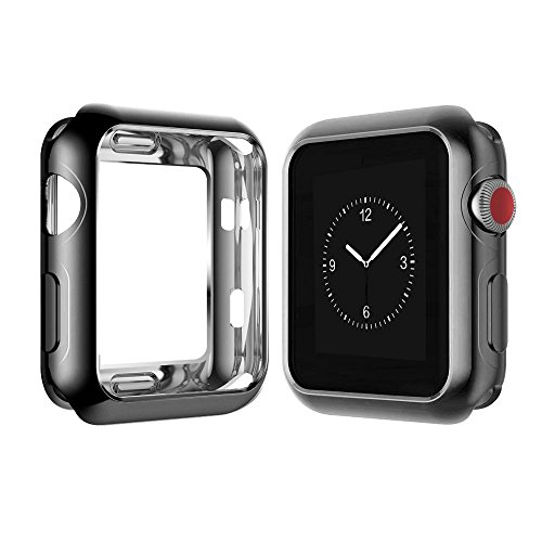 - Chrome TPU Case W/Corner & Edge Protection by Tech Express for Apple Watch Series 1, 2 & 3 Cellular LTE/GPS [iWatch Cover] Bumper Smooth Gel Skin Protective Shockproof Protection (38mm, Black)