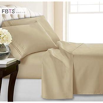 Queen Sheets, Fitted Flat 4 Piece Bed Sheet Set, 1800 Hotel Luxury Soft Hypoallergenic Microfiber, Adjustable 15 / 18 inch Deep Pocket Mattress Metal Bedding Cover for Women Men Toddler Bedroom, Beige