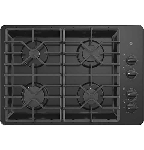 (GE JGP3030DLBB 30 Inch Gas Cooktop with MAX System, Power Broil, Simmer, Continuous Grates, Sealed Burners and ADA Compliant (Renewed))