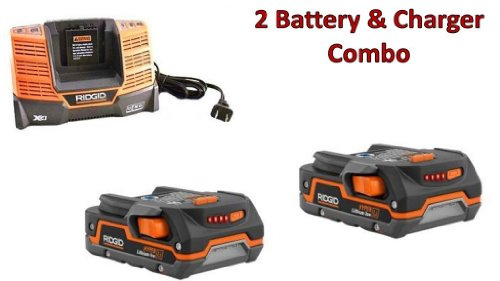 Ridgid (2 Pack) AC840085 Hyper Li-on 1.5 Ah Batteries & (1) R840093 Charger Combo # 130183001-2BC-140154001 by Rigid