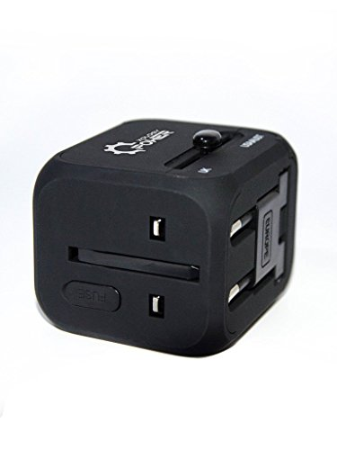 PowerXology International Travel All-in-one Plug Adapter Universal Converter Combo Unit with 2 USB Ports