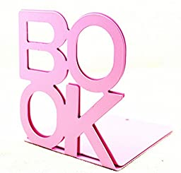 F.Dorla Cute Fashion Book Style Nonskid Bookends, Art Bookend, 1Pair(Pink)