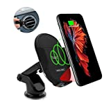 Maxjoy Fast Wireless Car Charger, Qi Wireless Car Charger Mount, 10W Wireless Car Charger Infrared Phone Holder Compatible for iPhone Xs/XR/X /8 Samsung Galaxy S9 S9 Plus S8 Plus Note 8 5,Black