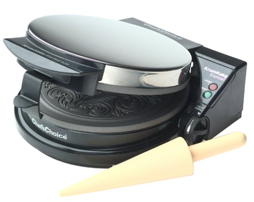 mKake Express Krumkake Cookie Maker with Color Select Quick Baking Instant Temperature Recovery Fast Bake Easy to Clean with Overflow Channel Includes Cone Roller, Black ()
