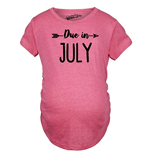 Shirts Crazy Magliette T Divertente Pregnancy Shirts Dog July Month Due Maternity Tshirts Rosa in di maternità Pregnant Shirt Funny Announce 818aqr0